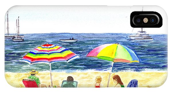 Two Umbrellas On The Beach California  IPhone Case