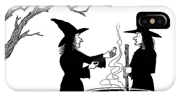 Cauldron iPhone Case - Two Witches: One Stirring A Cauldron by Alex Gregory