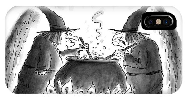 Scent iPhone Case - Two Witches Stir The Liquid In Their Cauldron by Christopher Weyant