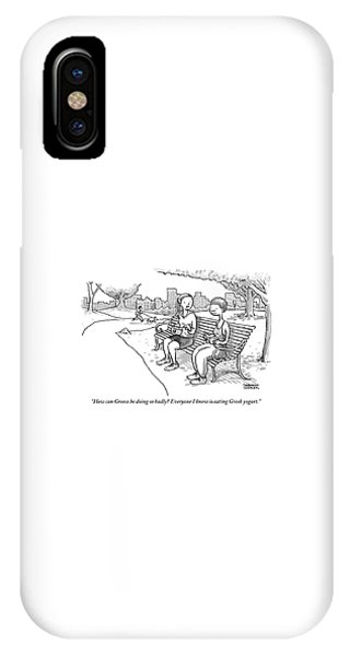 Two Women In Exercise Clothes Sit On A Park Bench IPhone Case