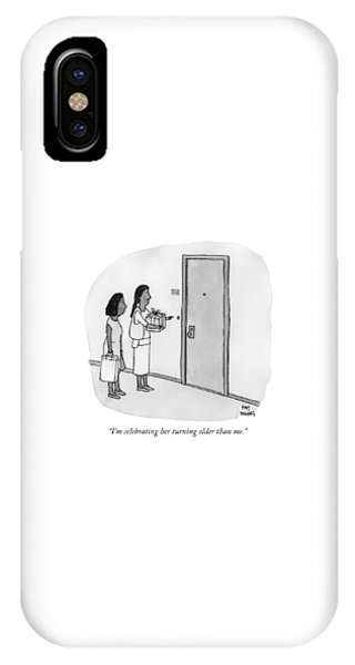 Two Women Ringing A Doorbell IPhone Case