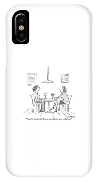 Two Women Sit Across From Each Other At A Small IPhone Case