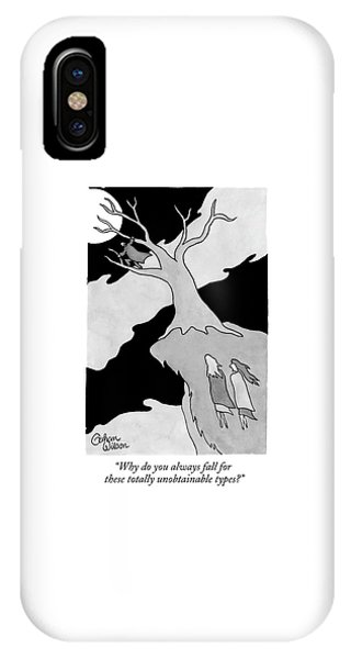Two Women Speak On A Jutting Cliff. A Man IPhone Case