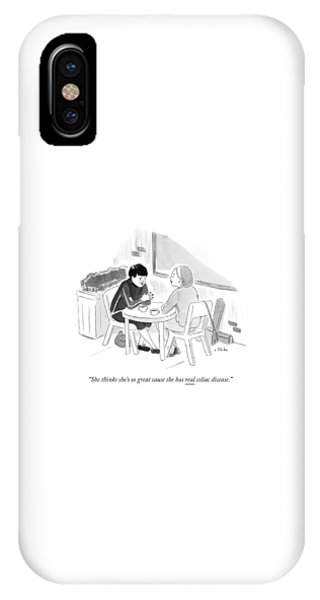 Two Women Speaking At A Coffee Shop Table IPhone Case