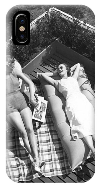 Sunbather iPhone Case - Two Women Sunbathing by Underwood Archives