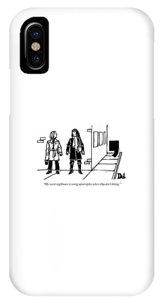 Two Women Talk On The Sidewalk While An IPhone Case
