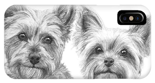 Two Yorkshire Terriers In Charcoal IPhone Case