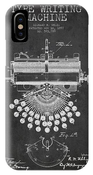 Old iPhone Case - Type Writing Machine Patent Drawing From 1897 - Dark by Aged Pixel
