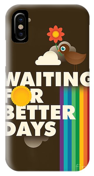 Typographic Poster With Cute Bird Phone Case by Radoman Durkovic
