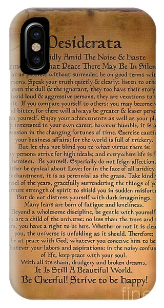 Bar Mitzvah iPhone Case - Typography Art Desiderat On Medieval Stone Tablet  by Desiderata Gallery