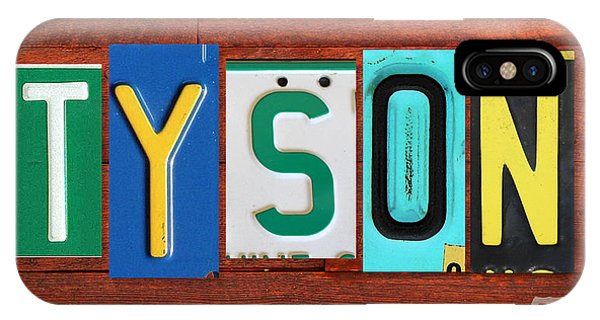 Tyson License Plate Name Sign Fun Kid Room Decor IPhone Case
