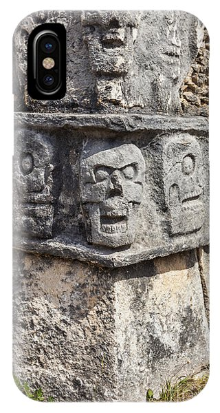 IPhone Case featuring the photograph Tzompantli Or Platform Of The Skulls At Chichen Itza by Bryan Mullennix