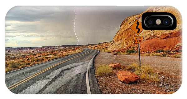 Valley Of Fire iPhone Case - Uncertainty - Lightning Striking During A Storm In The Valley Of Fire State Park In Nevada. by Jamie Pham