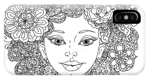 White Background iPhone Case - Uncolored Girlish Face For Adult by Mashabr