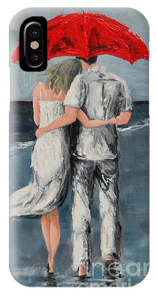 Under Our Umbrella - Modern Impressionistic Art - Romantic Scene IPhone Case
