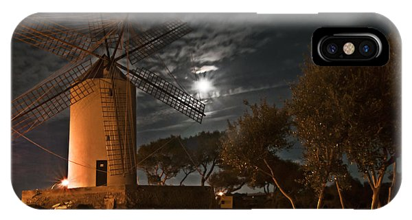 Vintage Windmill In Es Castell Villacarlos George Town In Minorca -  Under The Moonlight IPhone Case