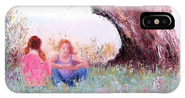 Girls In Pink iPhone Case - Under The Old Gum by Jan Matson