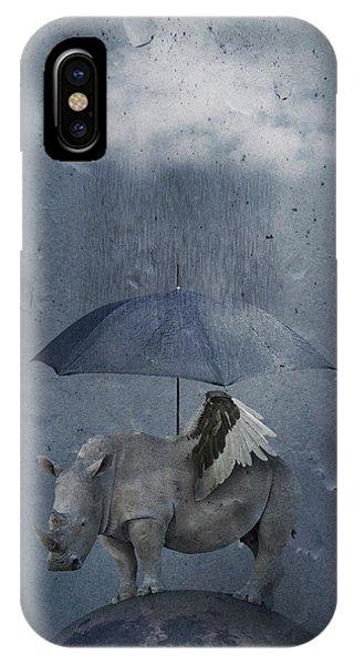 Umbrella iPhone Case - Under The Rain by Muriel Vekemans
