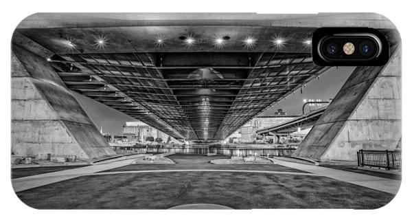Zakim Bridge iPhone Case - Underneath The Zakim Bridge Bw by Susan Candelario
