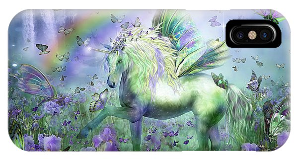 Print iPhone Case - Unicorn Of The Butterflies by Carol Cavalaris