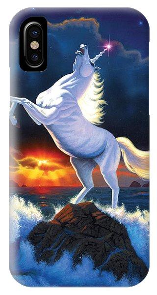 Unicorn iPhone Case - Unicorn Raging Sea by Chris Heitt