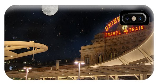 Union Station Denver Under A Full Moon IPhone Case