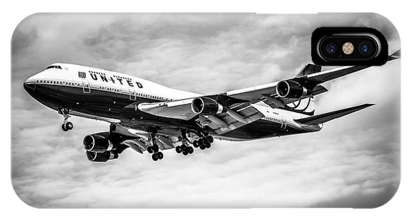 Airplane iPhone Case - United Airlines Airplane In Black And White by Paul Velgos