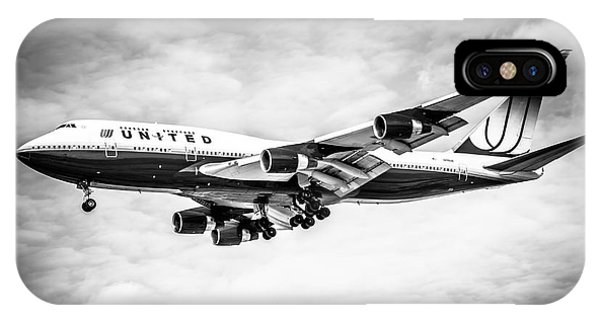 United Airlines Boeing 747 Airplane Black And White IPhone Case