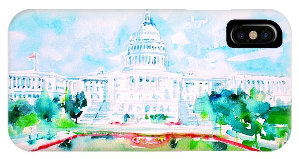 United States Capitol - Watercolor Portrait IPhone Case