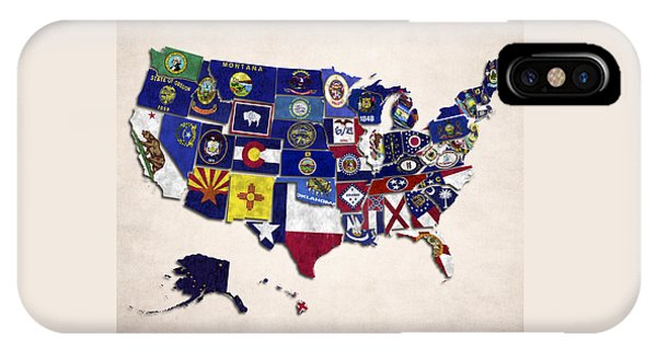 United States Map With Fifty States IPhone Case