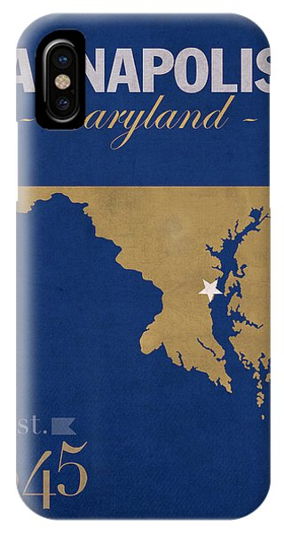 Naval Academy iPhone Case - United States Naval Academy Navy Midshipmen Annapolis College Town State Map Poster Series No 070 by Design Turnpike