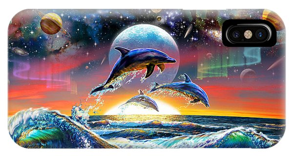 Astral iPhone Case - Universal Dolphins by Adrian Chesterman