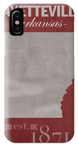 University Of Arkansas Razorbacks Fayetteville College Town State Map Poster Series No 013 IPhone Case