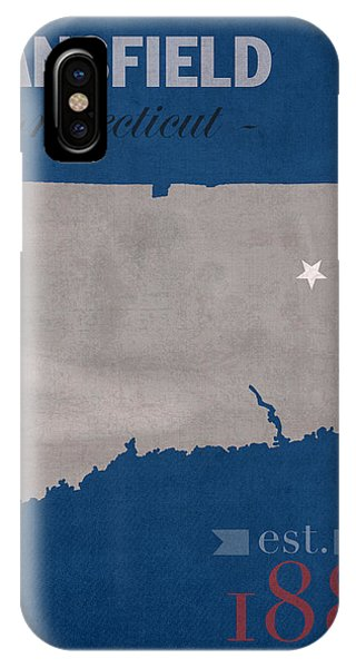 University Of Connecticut Huskies Mansfield College Town State Map Poster Series No 033 IPhone Case