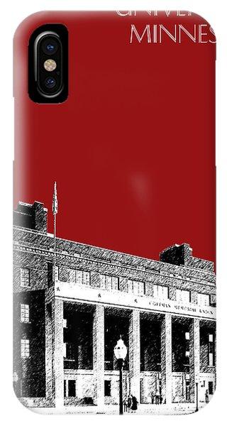 University Of Minnesota - Coffman Union - Dark Red IPhone Case