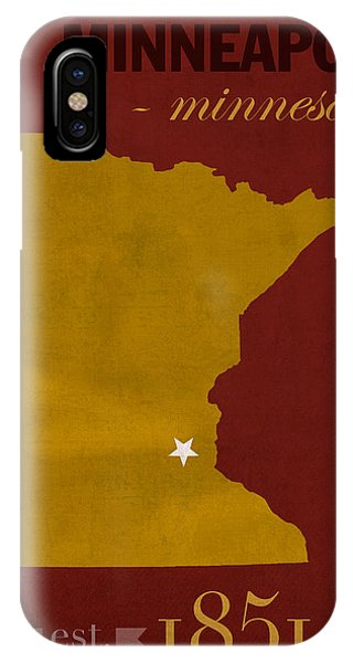 University Of Minnesota Golden Gophers Minneapolis College Town State Map Poster Series No 066 IPhone Case