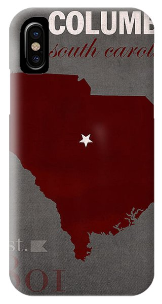 Gamecocks iPhone Case - University Of South Carolina Gamecocks Columbia College Town State Map Poster Series No 096 by Design Turnpike