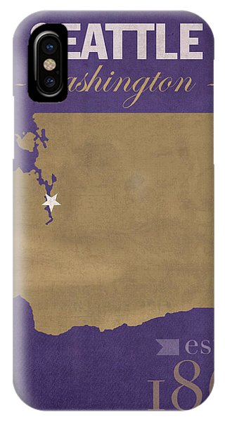 University Of Washington Huskies Seattle College Town State Map Poster Series No 122 IPhone Case