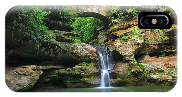 D10a-113 Upper Falls At Old Mans Cave Hocking Hills Photo IPhone Case