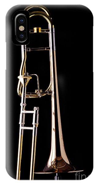 Trombone iPhone X Case - Upright Rotor Tenor Trombone On Black In Color 3465.02 by M K  Miller