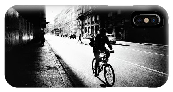 People iPhone Case - Urban Cyclist by Massimiliano Mancini