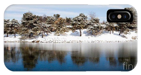 Urban Pond In Snow IPhone Case