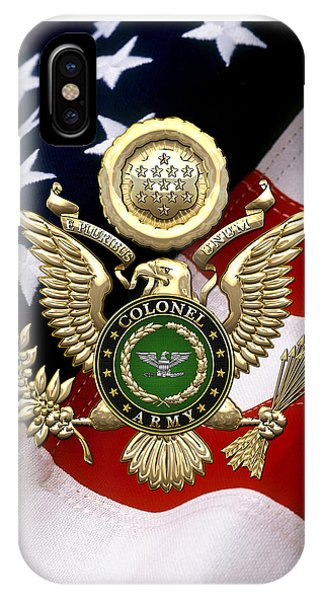 U. S. Army Colonel - C O L Rank Insignia Over Gold Great Seal Eagle And Flag IPhone Case