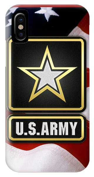 U. S. Army Logo Over American Flag. IPhone Case