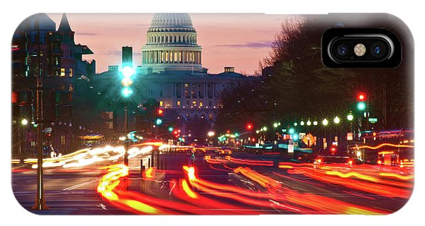 Capitol Building iPhone Case - Us Capitol Building At Dusk by Panoramic Images