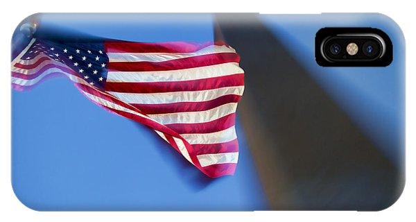 Us Flag At Washington Monument At Dusk IPhone Case
