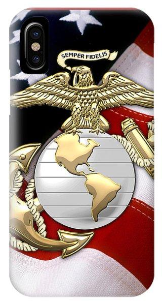 U. S. Marine Corps - U S M C Eagle Globe And Anchor Over American Flag. IPhone Case