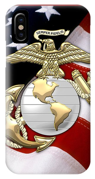 U. S. Marine Corps - U S M C Eagle Globe And Anchor Over American Flag. IPhone Case