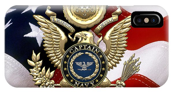 U. S.  Navy Captain - C A P T  Rank Insignia Over Gold Great Seal Eagle And Flag IPhone Case