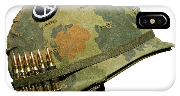 Us Vietnam War Helmet - Peace Button IPhone Case